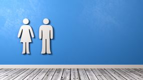 Symbole d'homme et de femme sur le mur bleu Photos stock