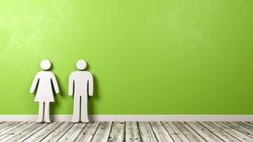 Symbole d'homme et de femme sur le plancher en bois contre le mur Photo libre de droits