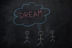 Symbole d'humain avec la bulle de la parole et le mot de rêve sur le tableau noir Image stock