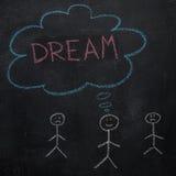 Symbole d'humain avec la bulle de la parole et le mot de rêve sur le tableau noir Photo stock