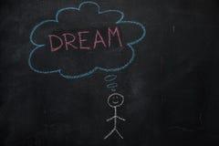 Symbole d'humain avec la bulle de la parole et le mot de rêve sur le tableau noir Photographie stock libre de droits