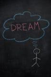 Symbole d'humain avec la bulle de la parole et le mot de rêve sur le tableau noir Photos libres de droits