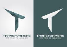 Symbole d'icône de transformateurs de T d'une lettre T d'alphabet Images stock