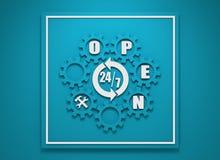 Symbole 7, 24 d'insigne de synchronisation Photographie stock