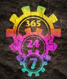 Symbole 7, 24 d'insigne de synchronisation image libre de droits