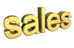 Symbole d'isolement de ventes en or - 3d Images stock
