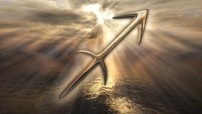 Symbole d'or mystique de Sagittaire d'horoscope de zodiaque rendu 3d Photographie stock libre de droits