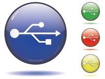 Symbole d'USB sur des sphères de couleur Image libre de droits