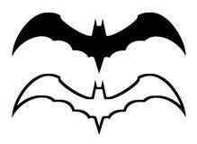 Symbole de 'bat' d'isolement sur le blanc Photographie stock libre de droits