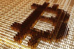 Symbole de Bitcoin sélectionné dans la perspective d'un code binaire d'or Photo libre de droits