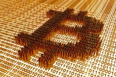 Symbole de Bitcoin sélectionné dans la perspective d'un code binaire d'or Image libre de droits