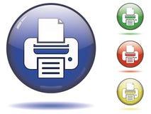 Symbole de bouton d'imprimante Images libres de droits