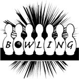 Symbole de bowling d'isolement sur le fond blanc Photos stock