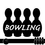 Symbole de bowling d'isolement sur le fond blanc Photographie stock libre de droits