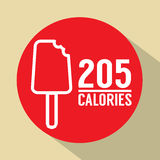 Symbole de calories du bâton 205 de crème glacée  Image stock
