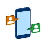 Symbole de causerie mobile Icône ou logo isométrique plate 3D style pi illustration libre de droits