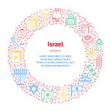 Symbole de cercle d'Israel Thin Line Banner Card Vecteur illustration stock