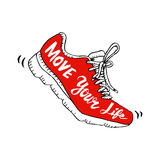 Symbole de chaussure de course - déplacez votre vie illustration stock