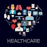Symbole de coeur avec des soins de santé et des icônes médicales Photos stock