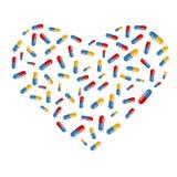 Symbole de coeur créé des pilules Image libre de droits