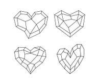 Symbole de coeur de cubisme dans diverses formes et conceptions dans la ligne style illustration stock