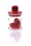 Symbole de coeur d'amour à l'intérieur de mini conteneur Photographie stock