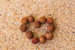Symbole de coeur de litchi Concept de régime de fruits Photos stock