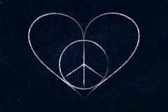 Symbole de coeur de paix et d'amour Photos stock