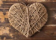 Symbole de coeur enroulé avec la corde Photographie stock libre de droits