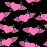 Symbole de coeur et de flèche de l'amour Modèle sans couture à ailes de coeur B Photographie stock