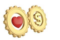 Symbole de coeur et de dollar dans des vitesses d'or illustration 3D illustration libre de droits