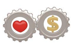 Symbole de coeur et de dollar dans des vitesses en acier illustration 3D illustration stock