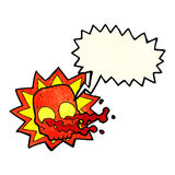 symbole de crâne de Halloween de bande dessinée avec la bulle de la parole Photo stock