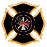 Symbole de croix maltaise de corps de sapeurs-pompiers Photo libre de droits