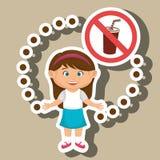 symbole de danger d'aliments de préparation rapide de fille d'enfant de bande dessinée illustration libre de droits