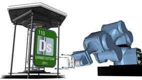 Symbole de Darmstadtium dans la forme carrée avec le bord métallique devant un bras mécanique qui tiendra un conteneur chimique 3 illustration libre de droits