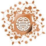 Symbole de double bonheur sur le bouclier avec le fond floral d'isolement Image libre de droits