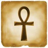 Symbole de durée d'Ankh sur le vieux papier Photo libre de droits