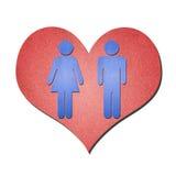 Symbole de femme d'homme avec le coeur Photo libre de droits
