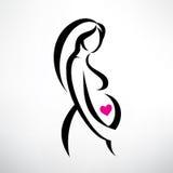 Symbole de femme enceinte Images libres de droits