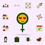 Symbole de femme, sourire, ic?ne de couleur de coeur d'oeil Ensemble universel du 8 mars pour la conception de site Web et le d?v illustration libre de droits