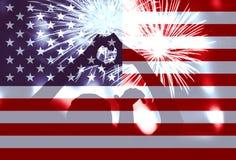 Symbole de forme de coeur, feux d'artifice, drapeau de l'Amérique Photos stock