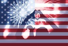 Symbole de forme de coeur, feux d'artifice, drapeau de l'Amérique Photo stock