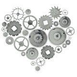Symbole de forme de coeur de vieilles vitesses en acier d'isolement sur le blanc Photos libres de droits
