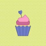 Symbole de l'amour pour le Saint Valentin - gâteau de tasse douce Vecteur plat illustration libre de droits
