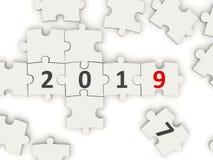 Symbole de la nouvelle année 2019 sur le puzzle image stock