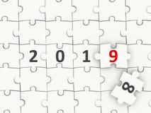 Symbole de la nouvelle année 2019 sur le puzzle photos stock