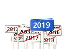 Symbole de la nouvelle année 2019 sur un panneau routier photo stock