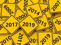 Symbole de la nouvelle année 2019 sur un panneau routier image libre de droits