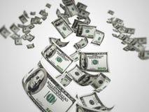 Symbole de la richesse et succès - pleuvoir des dollars D'isolement au-dessus du blanc Photographie stock libre de droits